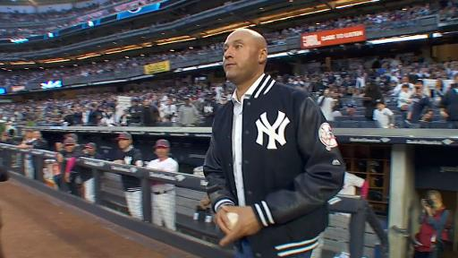 Derek Jeter throws out the first pitch
