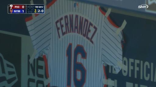 Cespedes sits in dugout below Fernandez jersey
